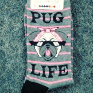 NWT 3/$25 Pug Life Dog Puppy Socks Pink Black